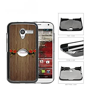 CUSTOM NAME Brown Wood Pattern with Red Roses White Oval Banner Motorola (Moto X) Hard Snap on Plastic Cell Phone Case Cover