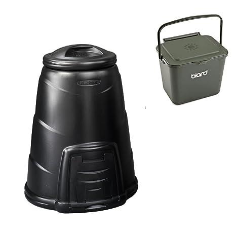 Compostador negro jardín de 330 L cubo de basura para abono ...