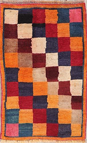 Modern Gabbeh Style Rug Wool Handmade Oriental Checked Foyer Persian 2x3 Carpet