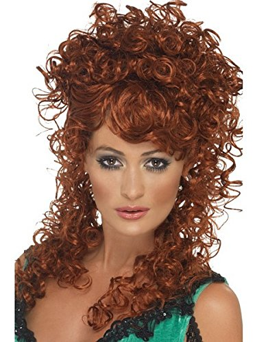 Smiffys Women's Long and Curly Auburn Wig, One Size, Saloon Girl Wig, 42243 -