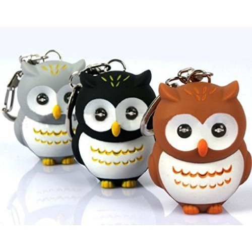 Mini LED Owl Torch Flashlight Key Chain with Sound ( Random Color ) (Cartoon Flashlight Keychain)