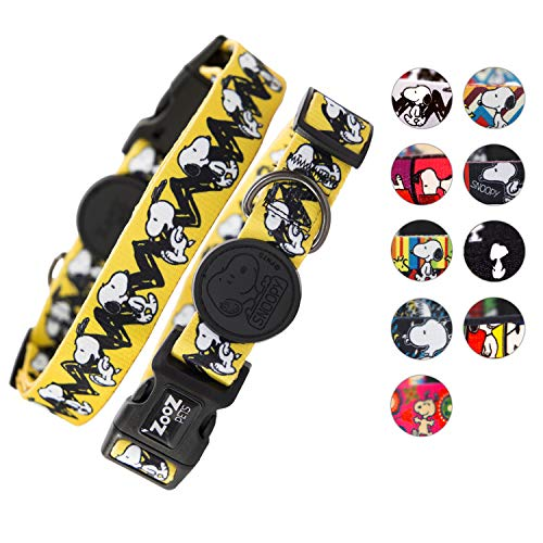 Zoozpets Snoopy Dog Collar | Official Peanuts Dog Collars | 10 Bright Beautiful Designs with Four Sizes | Adjustable, Super-Safe, Stylish Dog Collars for Large Dogs & Small | Collar for Dogs