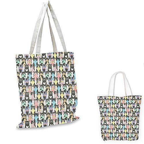 Cat canvas laptop bag Pattern with Hipster Playful Feline Characters with Glasses and Bowties Vintage Style emporium shopping bag Multicolor. 16