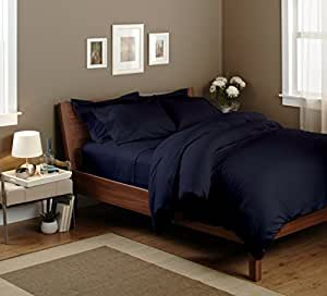 """Egyptian cotton Fitted Sheet With 18"""" Deep Pocket 400 TC Solid (King, Navy Blue) By Bedding Spa"""