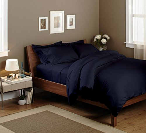 Duvet Cover - 100% Pure Egyptian cotton 500TC Ultra Soft Duvet Cover Solid By Sao's Silvalinen (Queen, Navy Blue)