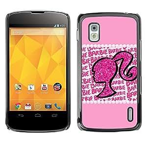 For LG Google NEXUS 4 / Mako / E960 Case , Silhouette Woman Glitter Bling - Diseño Patrón Teléfono Caso Cubierta Case Bumper Duro Protección Case Cover Funda