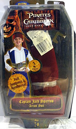 Captain Action Costume (Pirates of the Caribbean Captain Jack Sparrow Action Suit Childs Costume Size 7 to 8)