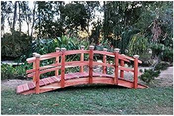 Attrayant Redwood Garden Bridges 14 Ft. Curved Rail Lights