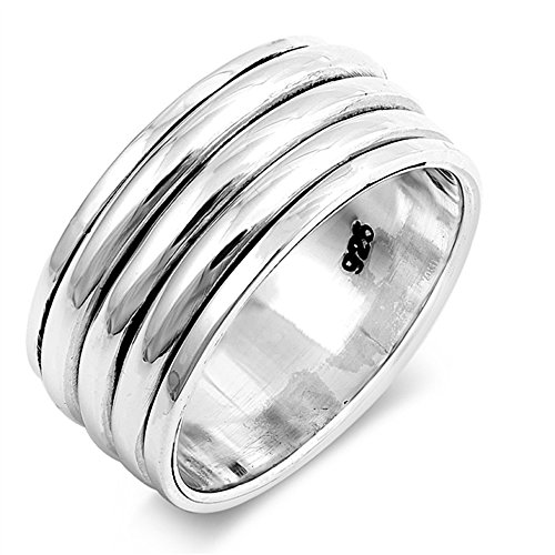 CloseoutWarehouse Sterling Silver Tri Bands Spinner Ring Size (Sterling Silver Mens Spinner)