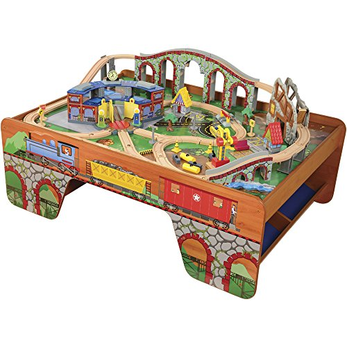 Amazon CP Toys Wooden Train Table With 100 Pc Track And Accessories Set Games