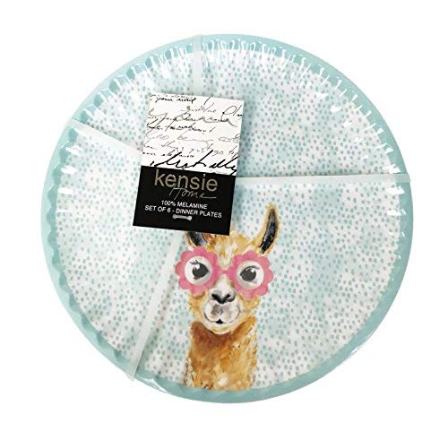 Cute Llama Face Wearing Pink Flower Eyeglasses Indoor/Outdoor Novelty Melamine Party Dinnerware (6, Dinner Plate - 10.5) -