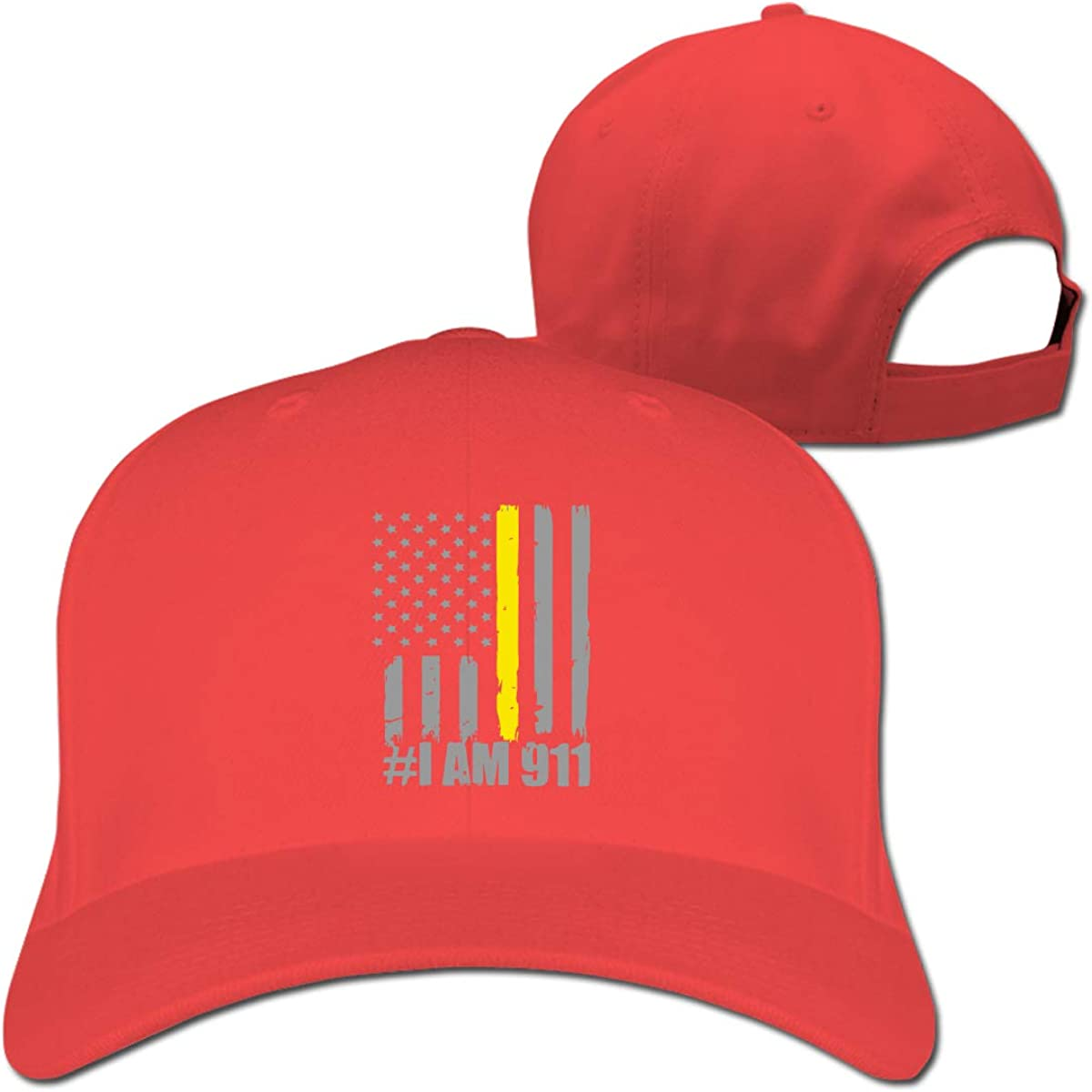 I Am 911 Thin Gold Line Flag Unisex Pure Color Baseball Cap Classic Adjustable Sun Hat
