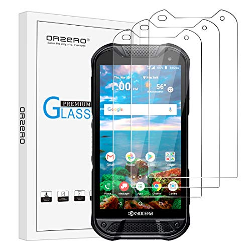 (3 Pack) Orzero Tempered Glass Screen Protector Compatible for Kyocera Duraforce Pro 2 E6900, 2.5D Arc Edges 9 Hardness HD Anti-Scratch Bubble-Free (Lifetime Replacement) (Screen Replacement Kyocera Phone)
