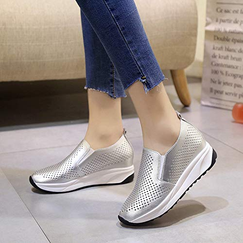 Shoes Increased Sponge Shoes Lok Thick Hollow Shoes Summer Seven Breathable Bottom Silvery Cake Flat KPHY Women'S Single Bottom Bottom Fu Thirty Inside q7EUxB