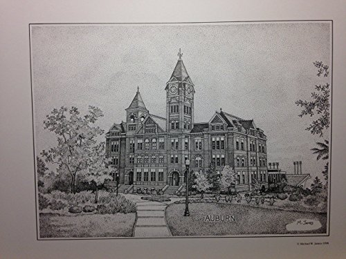 Auburn Samford Hall pen and ink 11''x14'' print by Campus Scenes