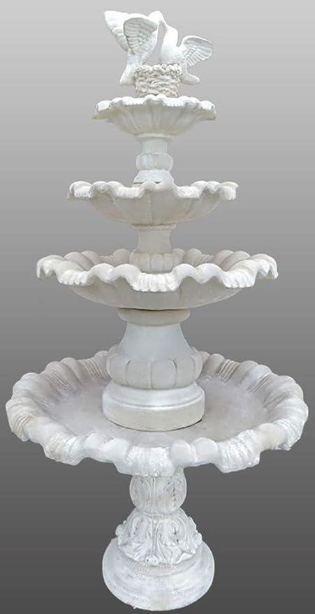 Casa Padrino Fuente/Fuente de Jardín Art Nouveau Ø 130 x H. 228 cm - Fuente de Piedra Artificial con Palomas Decorativas, Colores:Blanco: Amazon.es: Hogar