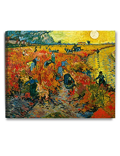 (DECORARTS - The Red Vineyards, Vincent Van Gogh Art Reproduction. Giclee Canvas Prints Wall Art for Home Decor 30x24)