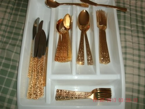 Amazon.com | Cellini Romanessque(50) Pieces Service for 8 Gold Electroplate Flatware Made in Japan: Other Products: Flatware Sets