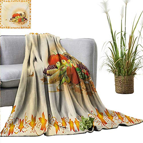 (AndyTours Luxury Flannel Fleece Blanket,Harvest,Maple Tree Frame with Rustic Composition for Thanksgiving Halloween Dinner Food,Multicolor,All Season Light Weight Living Room/Bedroom)