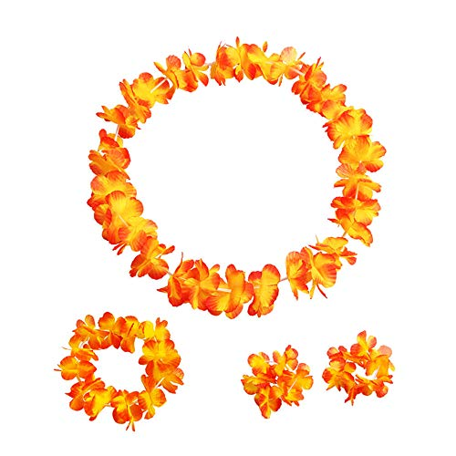 Elevin(TM)  A Set Counts Tropical Hawaiian Luau Flower Lei Party Favors (Orange)