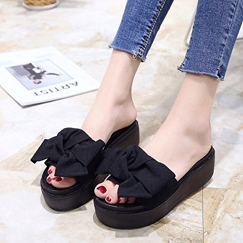 Bow A Wild Fashion Shoes Bottom Women'S Forty With Bottom Word Slope Summer Casual Flat Green women Thick One Sandals slippers an8q1w5xPW