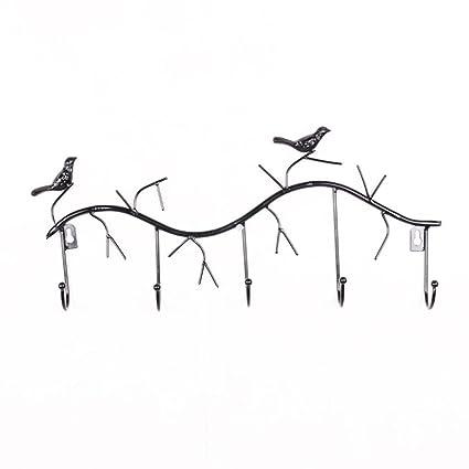 Flypv Percheros con 5 Ganchos en Pared Diseño 2 Pájaros ...