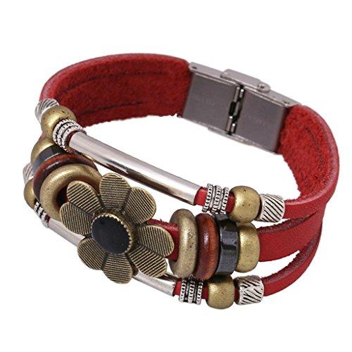 Gnzoe Jewelry, Men/Womens Leather Bracelet Bead Bangle Cuff Alloy Sun Flower,Dark - 14k Frames Eyeglass Gold