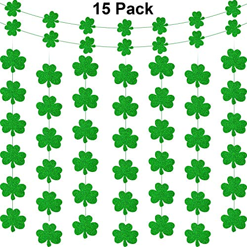 Zhanmai 15 Pieces St. Patrick's Day Shamrock Decorations Shamrock Banner Garland - Lucky Irish Party Hanging Ornaments Garland