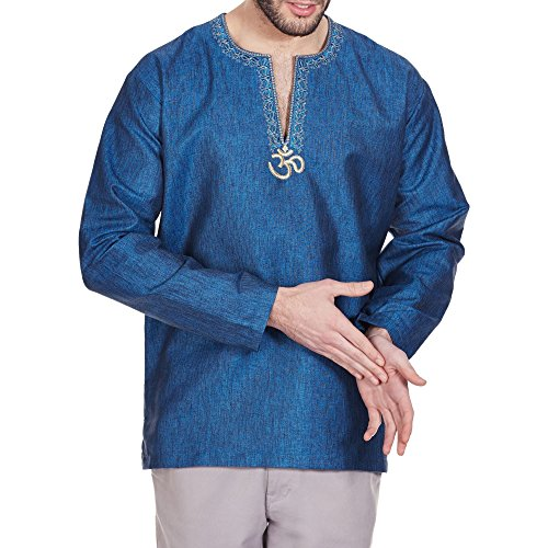 [Indian Costume Comfortable Men Shirt Embroidered Kurta Om Relax Fit Airy 44 Inches] (Indian Man Costume)