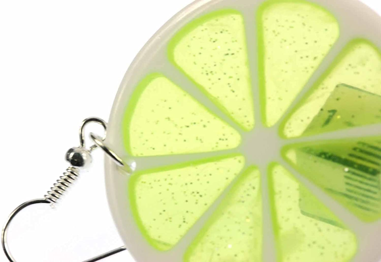 cintre boucles doreilles de chaux Miniblings fruit fruit citron vert rond vert 35mm