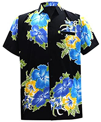 La Leela Hawaiian Shirt for Men Short Sleeve Front-Pocket Beach Floral Printed