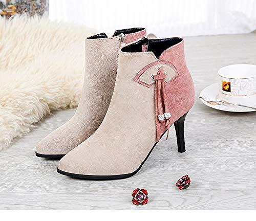 HOESCZS Stiefel Damen Woherren Stiefel Herbst Und Winter Quaste Mode Stiefelies Wies Stiletto Heels Mode Und Nackte Stiefel An
