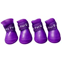 Fansport 4PCS Puppy Boots Waterproof Rubber Rain Shoes Boots for Dog (Small, Purple)
