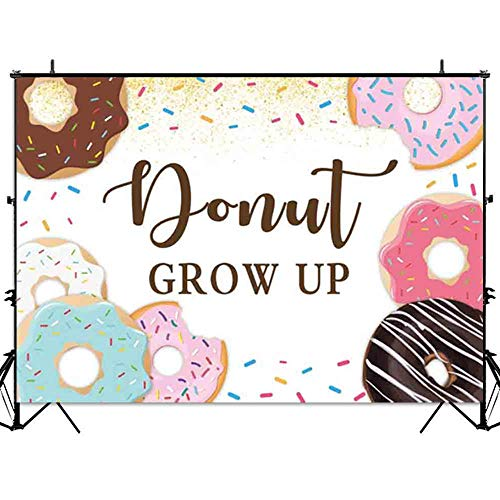 Allenjoy Donut Grow Up Backdrop Sweet Sprinkles Kids 1st Birthday Party Cake Table Decoration Banner 7x5ft Girl Photography Background Photo Booth Props