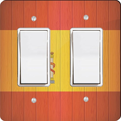 Rikki Knight 8561 Double Rocker Spain Flag On Distressed Wood Design Light Switch Plate by Rikki Knight