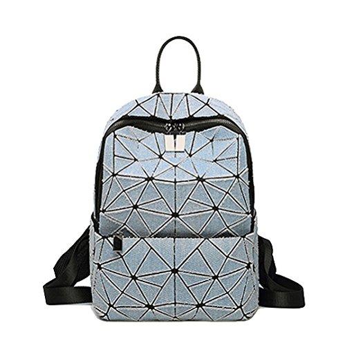 AJLBT Mujeres Bolsas De Viaje Bolsas De Escuela Mochilas De Mezclilla Estilo Japonés Tendencia Diamante Cubo De Rubik Costura Gray