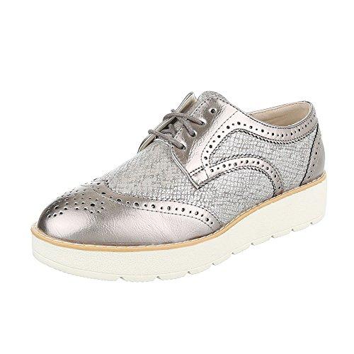 Ital-Design - Zapatos Planos con Cordones Mujer Silber Bronze 62016