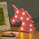 CO-Z Unicorn Light, Unicorn Shaped Night Lamp for Girls Kids Room Decor, Gift Ideas for Birthday Christmas Party, Decorative Light for Wall Decoration Bedside Table, Pink Marquee Letter Lights