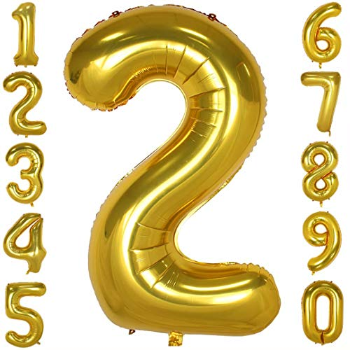 40 inch Big Number Balloons Gold Mylar Foil Large Number 2 Giant Helium Balloon Birthday Party -