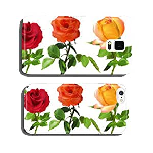 red, orange and yellow rose flowers on white cell phone cover case Samsung S6
