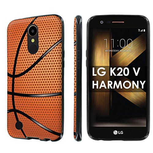 [Nakedshield] Slim Flexi Case For LG [K20 V/ K20 plus] LG Harmony [Black] Total Armor Rubber Gel Phone Case [Screen Protector]- [Basketball] Print Design