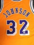 "Magic Johnson Autographed Los Angeles Lakers Yellow Jersey ""HOF 02"" PSA/DNA"