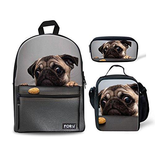 FOR U DESIGNS Canvas Backpack Cute Pugs Lightweight Teen Girls Backpacks School Book Bags 3 Piece Set (Picture Backpack)