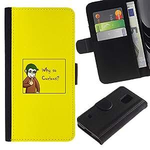 Samsung Galaxy S5 V SM-G900 - Dibujo PU billetera de cuero Funda Case Caso de la piel de la bolsa protectora Para (Why So Curious - Funny Joker Monkey)