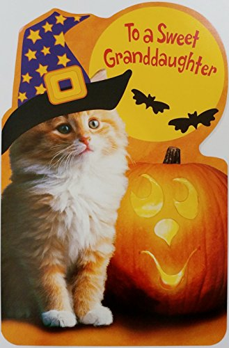 To A Sweet Granddaughter - Kitty Cat Witch Happy Halloween Greeting Card]()