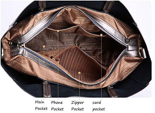 High Quality New Handbag Blue Leather Genuine WOMJIA Women's Shoulder Bags Tote Cowhide Fashion xAgqp