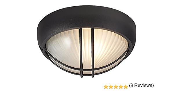 Lámpara de Porche o de Pared, de Mampara Circular, para Exteriores, de Aluminio Fundido a Presión, en Negro Mate por Happy Homewares: Amazon.es: Iluminación