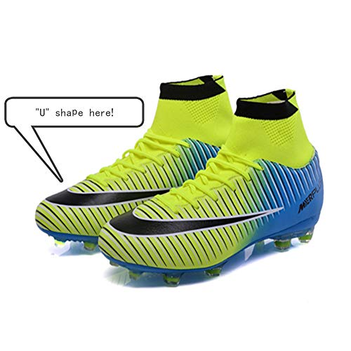 PLing Unisex High-Top Football Boots with Cleats Lace-Up for Men//Women//Boys//Girls