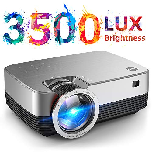 VIVIMAGE C480 Mini Projector, 3500 Lux 1080P Supported and 170'' Display Portable Video Projector with 40,000 Hrs LED Lamp Life, Compatible with TV Stick, PS4, HDMI, VGA, TF, AV and USB (Cable To Connect Mobile To Led Tv)