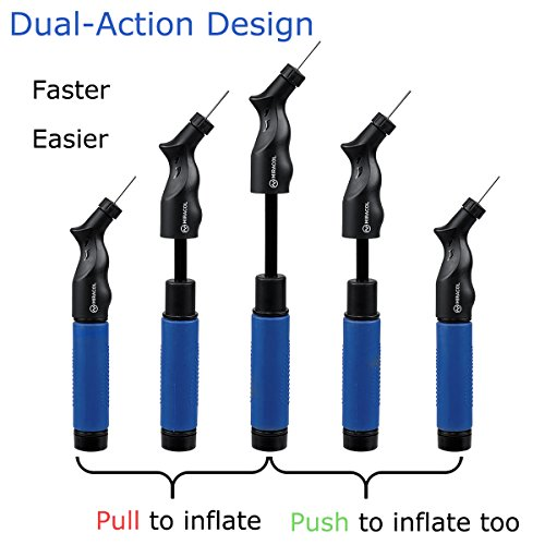 Miracol Dual Action Ball Pump – 4 Extra Replacement Needles – Best for Basketball, Soccer, Volleyball, Rugby & Other Inflatables – Sturdy and Portable Design Air Pumps